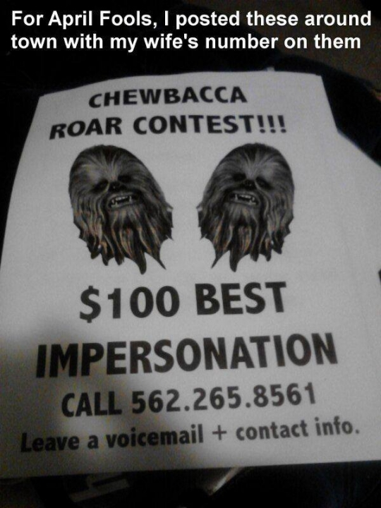 chewbacca voicemail prank april