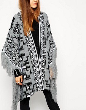 Image 3 of ASOS Blanket Cape In Pattern With Fringing