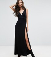 ASOS Petite ASOS PETITE Super Thigh Split Maxi Dress - Black 2018