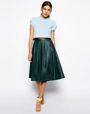 ASOS Premium Full Midi Skirt In Leather