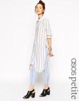 Image 1 ofASOS PETITE Long Sleeve Blue and White Stripe Maxi Shirt