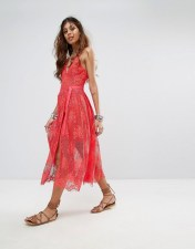 Free People Free People Matchpoint Lace Layer Midi Dress - Pink 2018