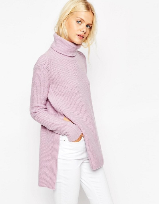 Image 1 of ASOS Sweater in Brushed Yarn with High Neck and Side Splits
