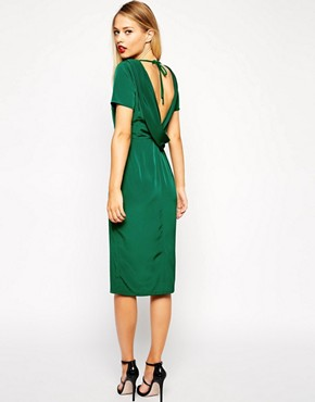 Image 1 of ASOS Clean Pencil Dress with Cowl Back