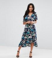 Yumi Petite Yumi Petite Floral Midi Wrap Dress - Black 2018
