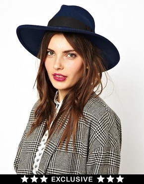 Catarzi Exclusive To ASOS Classic Navy Fedora Hat