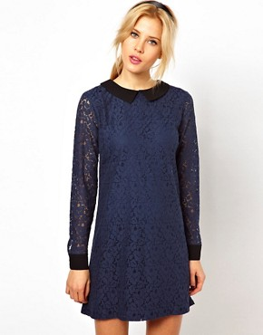 Image 1 of ASOS Shift Dress with Contrast Collar And Cuff