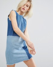I Love Friday I Love Friday Shift Dress In Patchwork Denim - Blue 2018