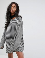 The Ragged Priest The Ragged Priest Oversized T-Shirt Dress With Choker In Stripe - Black 2018