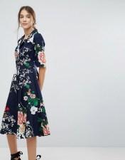 UTTAM BOUTIQUE Uttam Boutique Floral Shirt Dress With Button Detail - Navy 2018