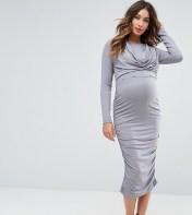 ASOS Maternity - Nursing ASOS Maternity NURSING Cowl Neck Dress - Grey 2018