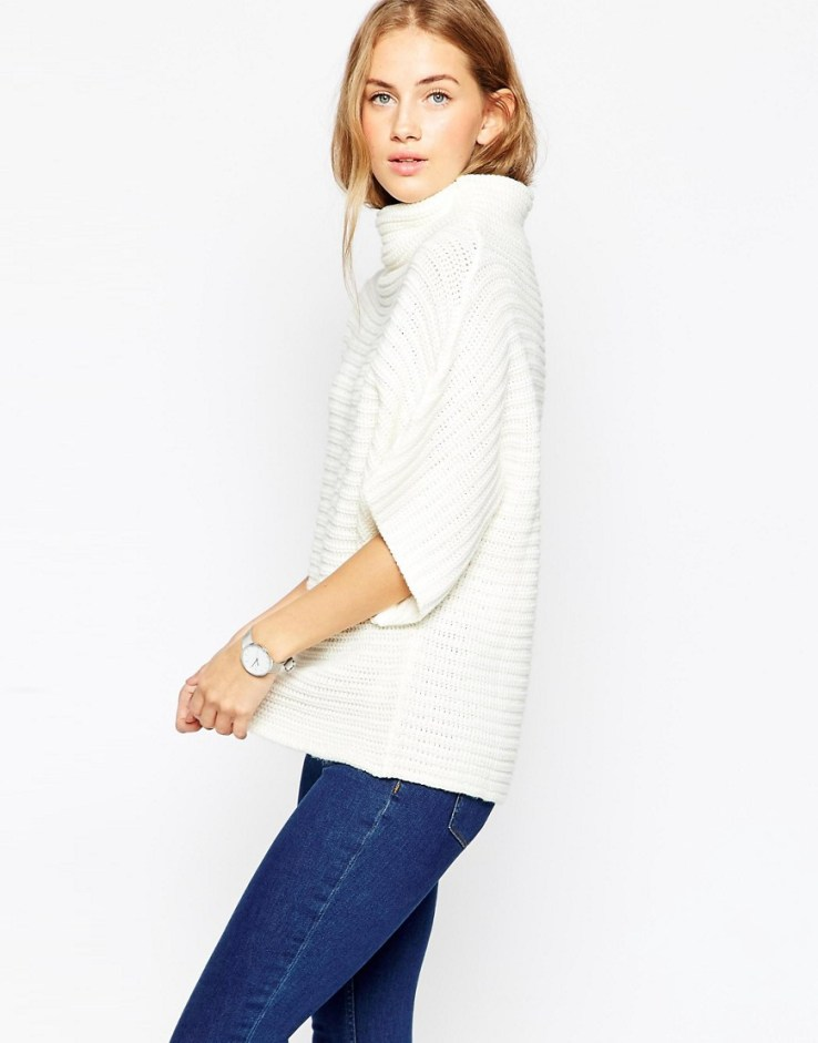 ASOS Cape In Horizontal Rib With Grown On Neck
