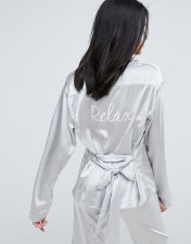 To Be Adored Rossy Silk Satin Pyjama Shirt - Silver