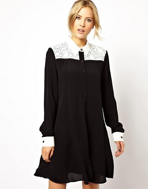 ASOS Shirt Dress With Color Block And Embroidery