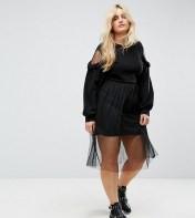 Boohoo Plus Boohoo Plus Cold Shoulder Mesh Jumper Dress - Black 2018