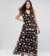 Truly You Truly You All Over Embroidered V Neck Maxi Dress - Multi 2018