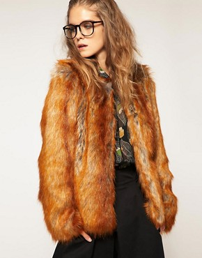 Image 1 ofASOS Faux Fox Fur Coat