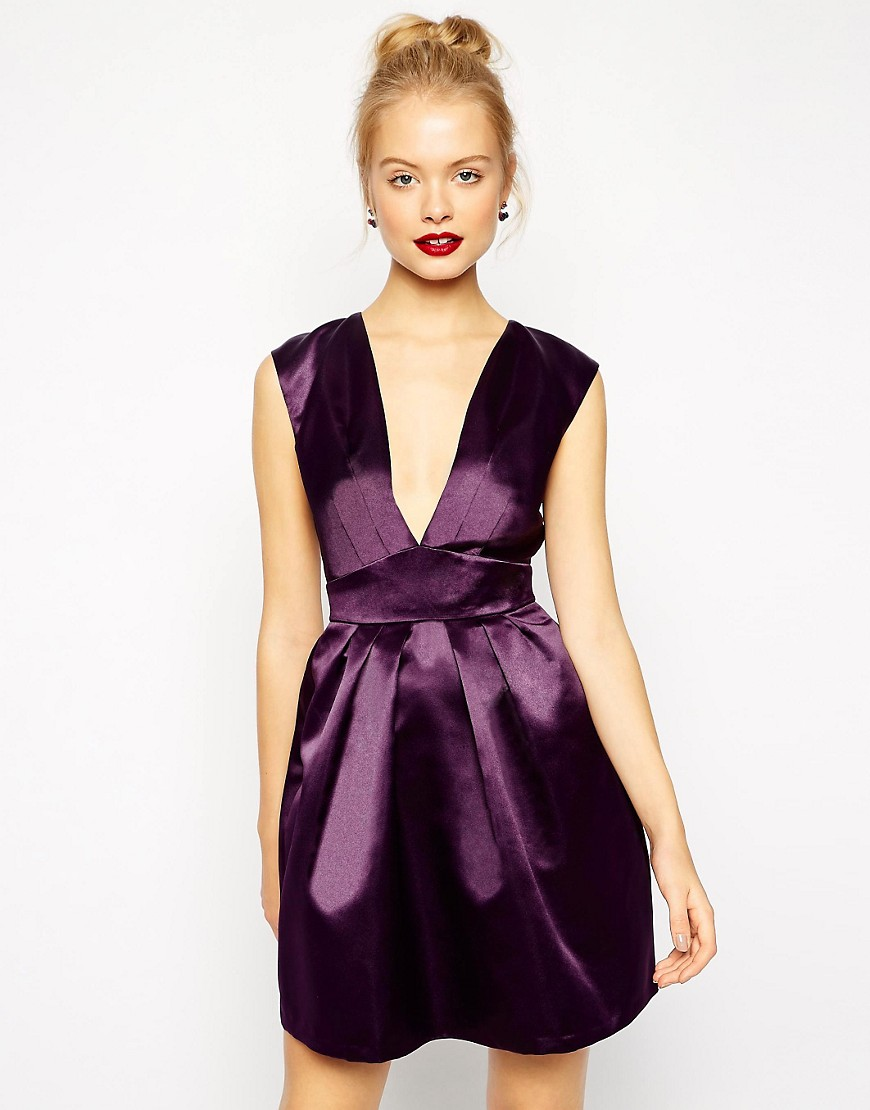 Image 1 of ASOS Deep Plunge Full Skater Dress