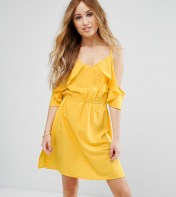 Boohoo Petite Boohoo Petite Cold Shoulder Frill Skater Dress - Yellow 2018