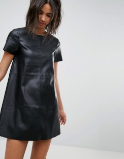 Stradivarius Leather Look Shift Dress - Black