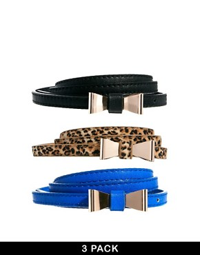 New Look 3 Pack Mini Bow Belts