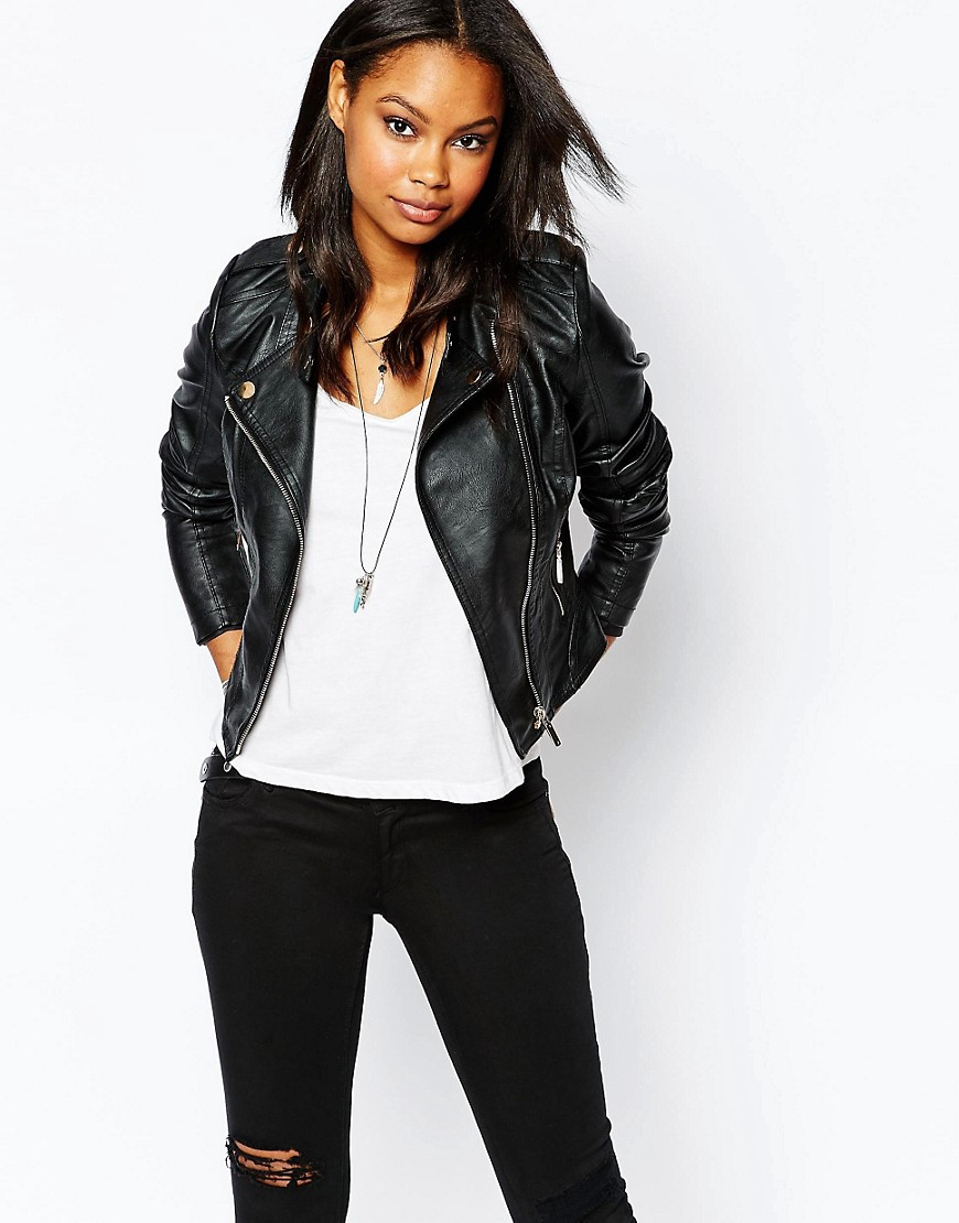 Image 1 of Boohoo Leather Look Biker Jacket