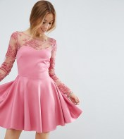 City Goddess Petite City Goddess Petite Lace Top Skater Dress - Pink 2018