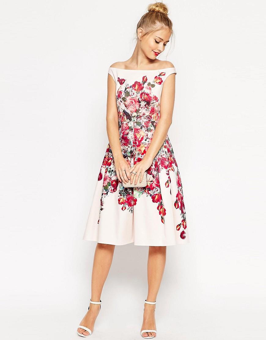Image 1 ofASOS Vintage Floral Bardot Prom Dress