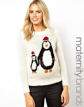 New Look Maternity - Pull à motif maman et bébé pingouin