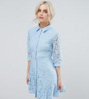 City Goddess Petite City Goddess Skater Shirt Dress In All Over Lace - Blue 2018