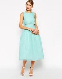 ASOS   ASOS Lace Crop Top Midi Prom Dress at ASOS