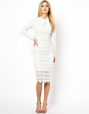 Arrogant Cat London High Neck Pencil Dress in Lace