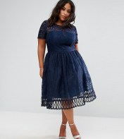 Chi Chi London Plus Chi Chi London Plus Premium Lace Dress with Cutwork Detail and Cap Sleeve - Navy 2018