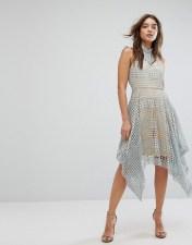 Girl In Mind Girl In Mind Lola High Neck Crochet Hanky Hem Skater Dress Grey - Grey 2018