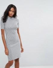 Pieces Pieces Maya High Neck Stripe Bodycon Midi Dress - Multi 2018
