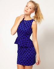 Glamorous Flocked Spot Peplum Dress