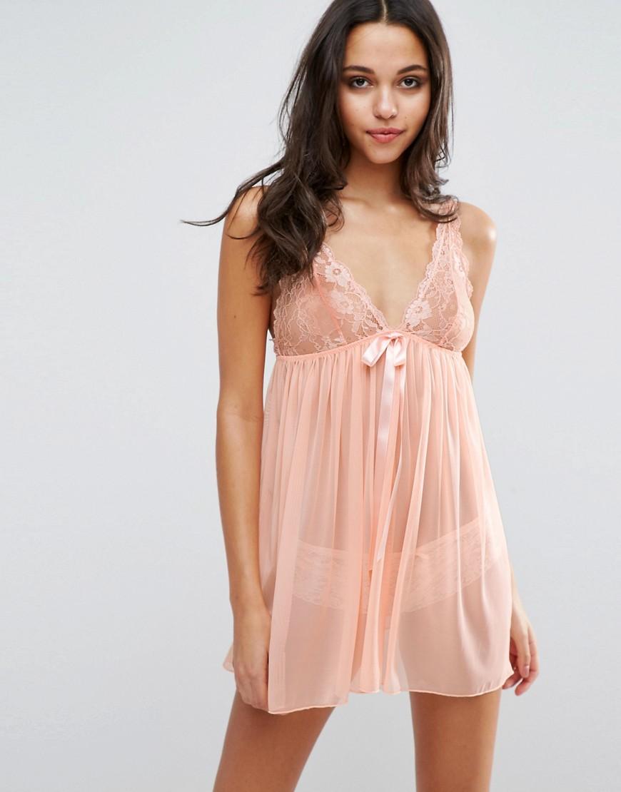 Image 1 ofASOS Rose High Apex Lace Slip