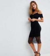 ASOS Petite ASOS PETITE Cold Shoulder Slinky Pencil Dress with Lace Insert - Black 2018