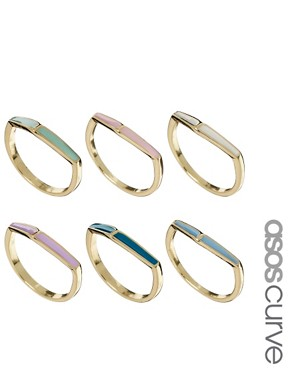 Image 1 of ASOS CURVE Enamel Arrow Ring Multipack