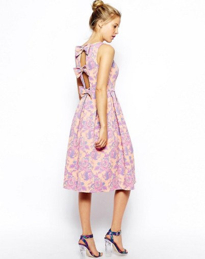Premium Midi Skater in Jacquard with Bow Back Detail £19 (was £65) from ASOS | All Hail the January Sale
