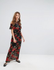 PIMKIE Pimkie Floral Print Open Shoulder Maxi Dress - Black 2018