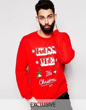 Reclaimed Vintage Christmas Sweatshirt With Kiss Me Print