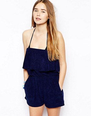 ASOS Frill Bandeau Towelling Beach Playsuit