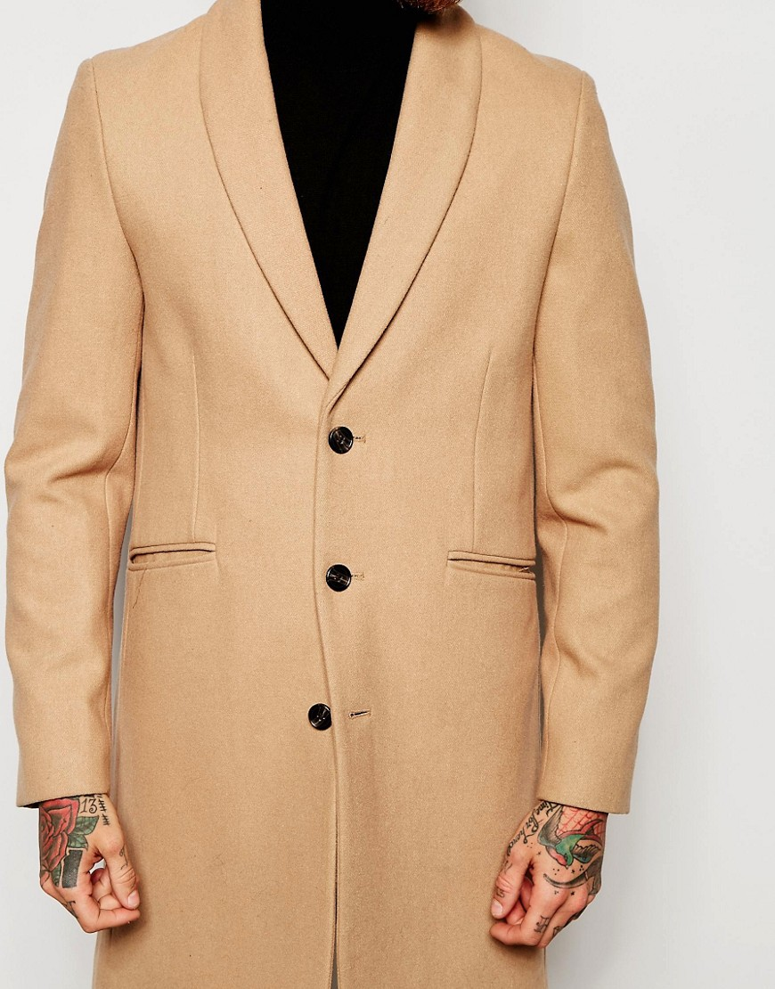 Image 3 of ASOS Overcoat With Shawl Collar In Camel