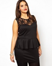 Image 1 of Club L Plus Size Lace Panel Peplum Dress