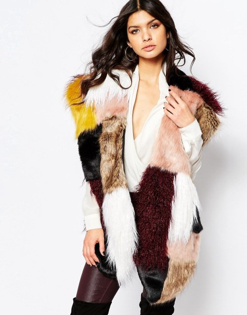 Image 1 ofRiver Island Oversized Patchwork Faux Fur Stole