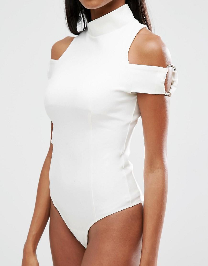 Image 3 ofLavish Alice Asymmetric High Neck Ring Detail Sleeve Bodysuit