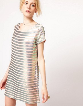 Image 1 of French Connection Metallic Stripe Shift Dress