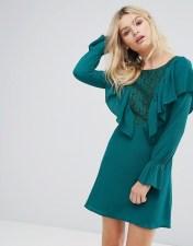 Rage Rage Lace Insert Dress With Ruffle - Green 2018