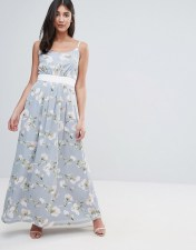 UTTAM BOUTIQUE Uttam Boutique Maxi Dress In Floral Print With Contrast Band - Green 2018